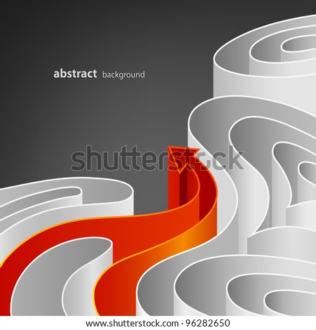 Abstract background of white elements with bright orange arrow