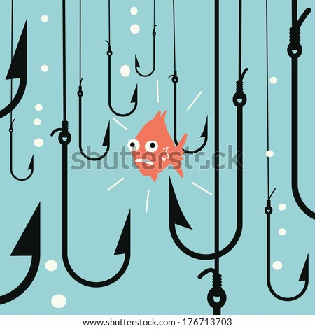 Abstract background on risk business concept metaphor to small fish being in danger among many hooks