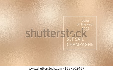 Abstract background on Set Sail Champagne color. Trendy color of the year 2021. Swatch background сoloring in trend color. Metallic effect sparkle texture foil. Design glitter for prints. Vector