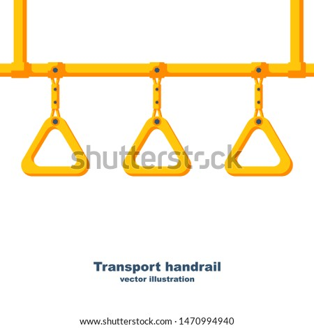 Abstract background passenger transportation. Transport handrail. Hanging handle. Ceiling bracket on yellow pipe. Handles for passengers. Grip metro or bus. Vector illustration flat design.