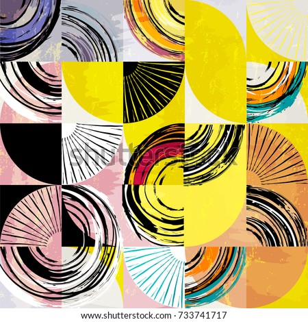 abstract background pattern, with circles, squares, strokes and splashes