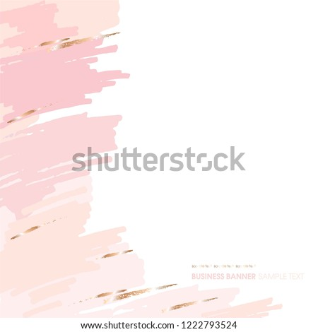 Abstract background. Pink rose peach brush strokes on a white background.