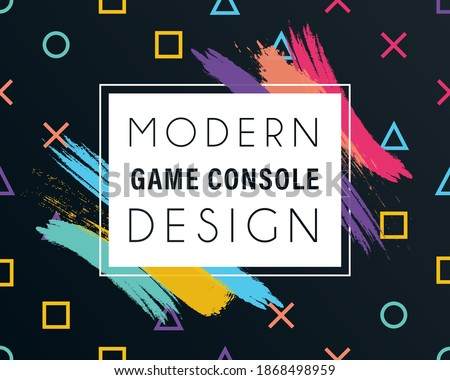 Abstract background playstation symbol of  game joystick cross, triangle, square, circle design game console with frame. Template background geometric symbols play station icons. Vector illustration.
