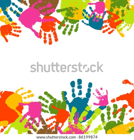 Abstract background, prints of hands of the child, vector illustration