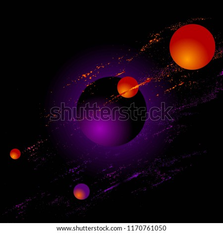 Abstract background. Space. Bright orange, purple, yellow brush strokes, dots, 3d balls on a black background.