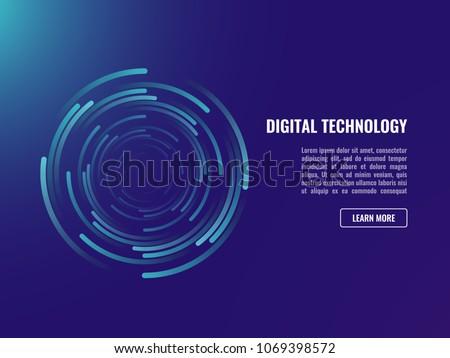 Abstract background, spiral whirlpool data flow circulation neon dark ultraviolet Stock photo ©