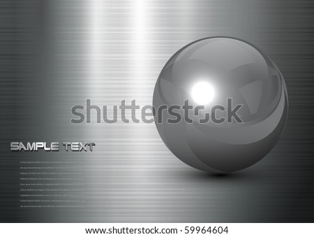 abstract background steel ball on polished metal texture, vector