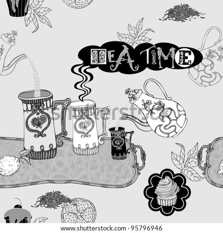 Abstract background, tea time vector wallpaper, monochrome seamless pattern, black and white fabric and wrapping with graphic tea, cup, cake, teapot, lemon, tray, flower and leaf ornaments for design
