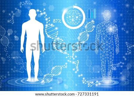 abstract background technology concept in blue light, human body heal, tests analysis clone defective DNA  human, global international medical and technology modern medical science in future