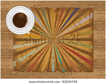 Abstract background texture composed of wood, coffee cup and torn sheets of parchment with the radiating
