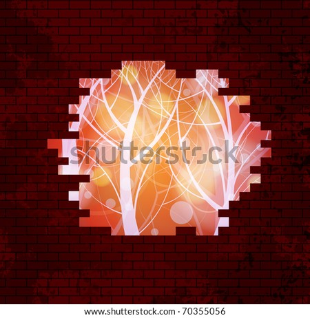 Abstract background vector. Beautiful landscape behind wall. Eps10