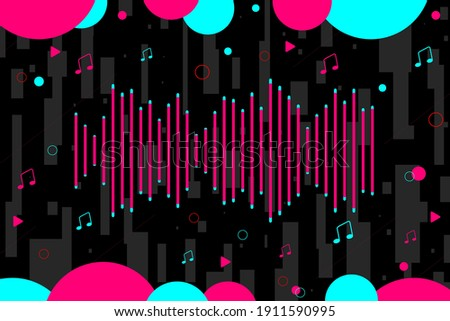 Abstract background. Vector illustration. Background in the style of  social media. Sound bar and music notes. Funny party design. Vector illustration. EPS10 Stock fotó ©