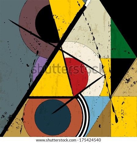 abstract background, vintage/retro geometric design, grungy