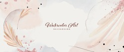 Abstract background watercolor leaves with pink gold