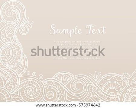 Wedding floral lace pattern vector download free vector art stock abstract background wedding invitation or greeting card design with hand drawn lace pattern corner stopboris Gallery