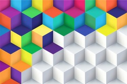 Abstract background with a 3D pattern in colors. Vector illustration.
