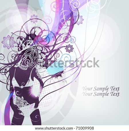abstract background with a girl dancing in a bathing suit