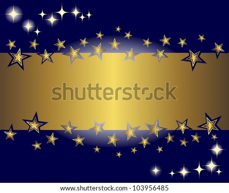 Abstract background with a gold banner and stars. Vector illustration.