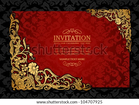 Abstract background with antique, luxury red and gold vintage frame, victorian banner, damask floral wallpaper ornament, invitation card, baroque style booklet, fashion pattern, template for design