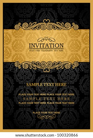 Abstract background with antique, vintage frame and banner, black damask wallpaper with ornamental, gold invitation card, baroque style label, fashion pattern, graphic ornament for decoration, design