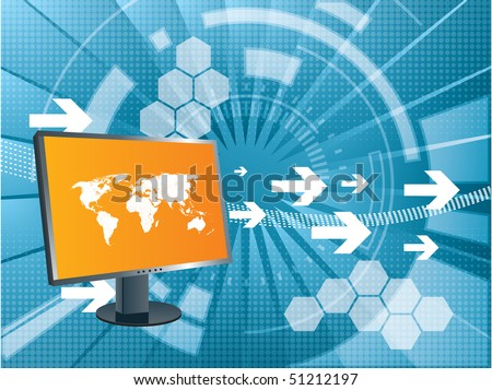 stock vector : abstract background with arrows moving and lcd monitor