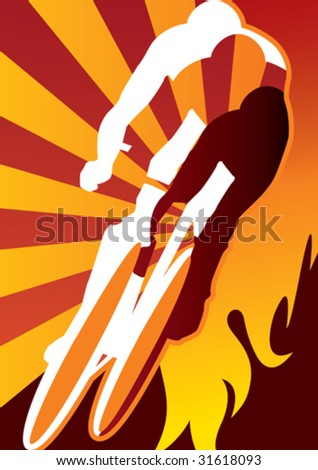 Abstract background with bicycle driver. Vector illustration.