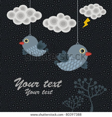 Abstract background with birds in clouds. Vector illustration.