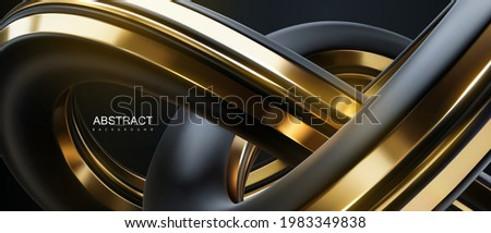 Abstract background with black and golden knot shape. Vector 3d illustration. Intertwined curvy shape. Futuristic loop. Banner or sign design. Modern cover template Stock foto ©