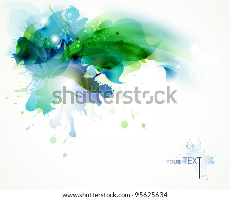 Abstract   background with blue and green blots