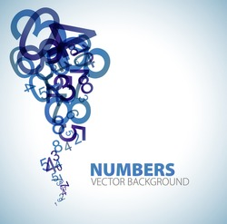 Abstract background with blue numbers