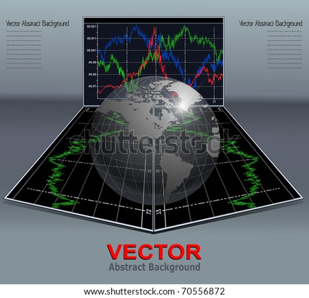 Abstract background with business diagrams and earth globe, vector.