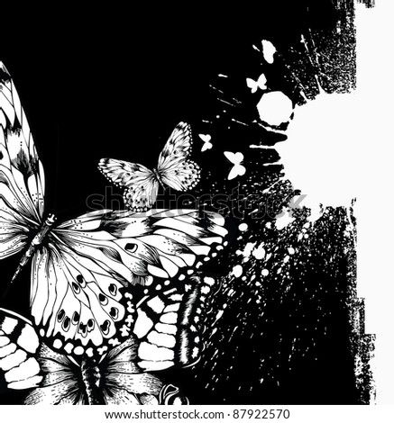 Abstract background with butterflies and ink blots. Vector illustration.