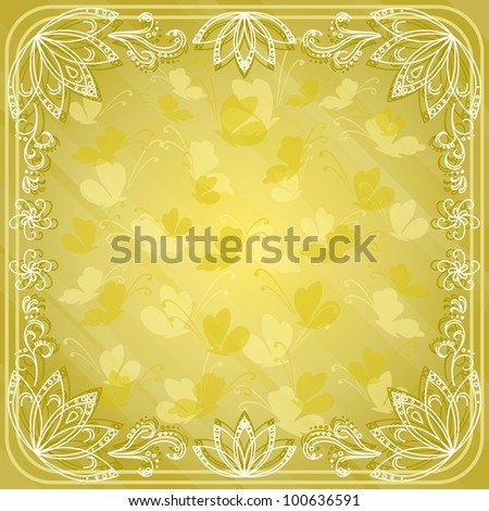 Abstract background with butterflies silhouettes and flowers contours. Vector eps10, contains transparencies