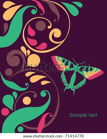 abstract background with butterflies. vector illustration - stock vector