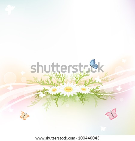 Abstract background with chamomiles and butterflies, illustration