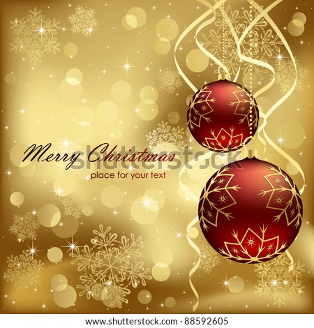 Abstract background, with Christmas baubles, stars, snowflakes and blurry lights, illustration
