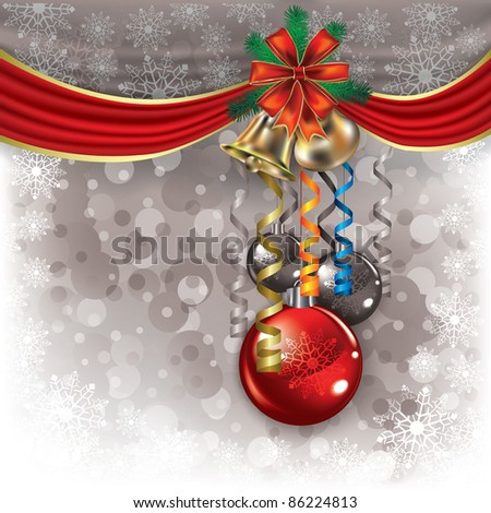 Abstract background with Christmas bells and decorations