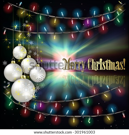 Abstract background with Christmas lights white decorations and stars