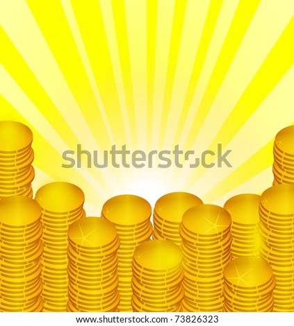 Abstract background with coins and the rays