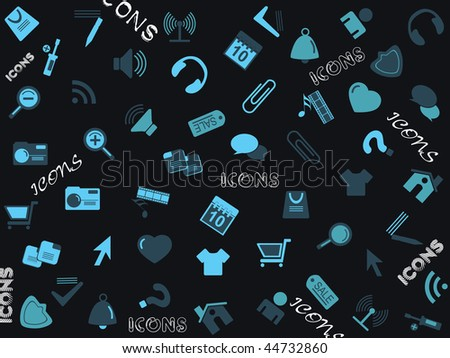 abstract background with collection of icons - stock vector