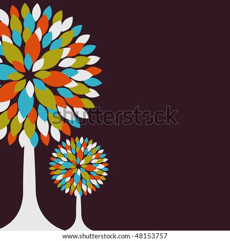 Abstract background with color tree. Vector illustration