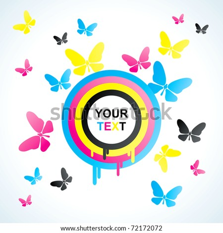 Abstract background with colored CMYK circles and butterflies - stock vector