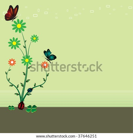 Abstract background with colorful flower, small ladybirds and two beautiful butterflies