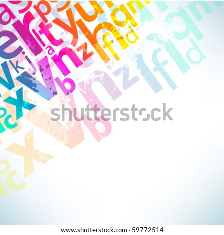 Abstract background with colorful letters