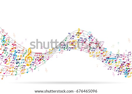 Abstract Background with Colorful Music notes.Vector Illustration