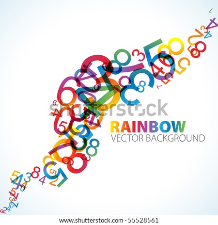 Abstract background with colorful rainbow numbers - stock vector