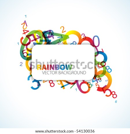 Abstract background with colorful rainbow numbers and place for your text