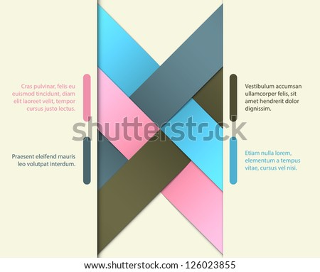 Abstract background with crossed ribbons and origami effects. EPS10 vector.