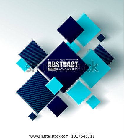 Abstract background with 3d cubes and squares vector illustration