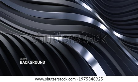 Abstract background with 3d curvy stripes. Wavy black and silver ribbons backdrop. Soft elastic shapes. Vector illustration. Minimalist decoration for banner or cover design.